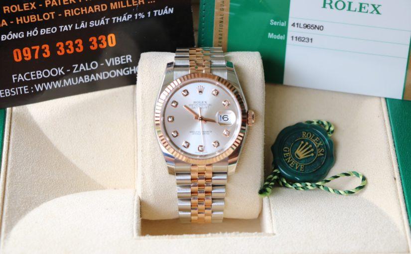 Đồng hồ rolex date just 6 số 116231 – Đè mi vàng hồng 18k – Hạt Xoàn – size 36mm