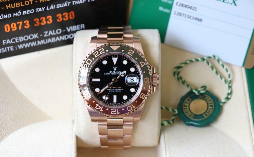 Đồng hồ rolex gmt 6 số 126715 – Vàng hồng 18k – vành ceramic – size 40.mm