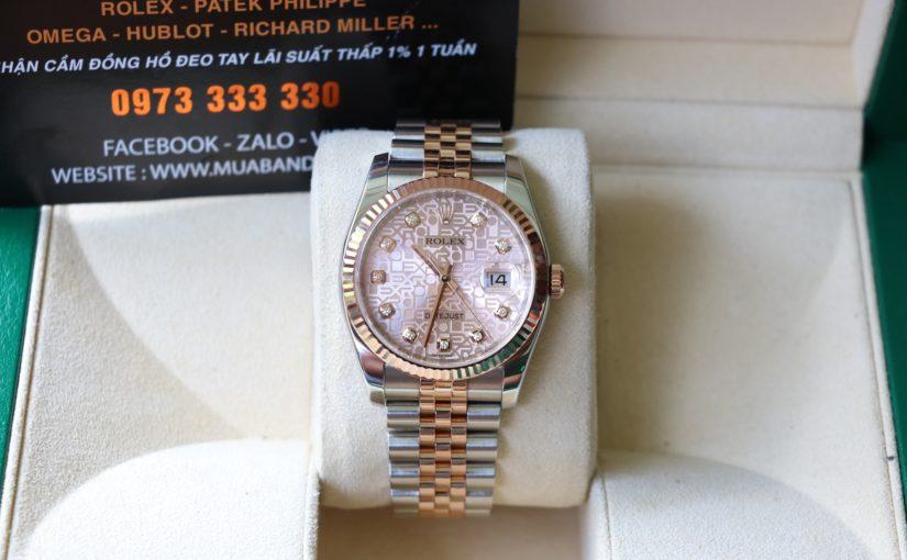 Đồng hồ rolex date just 6 số 116231 – đè mi vàng hồng – mặt vi tính – size 36