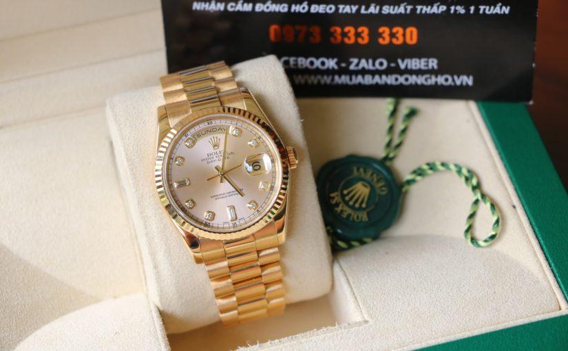 Đồng hồ rolex day date 6 số 118238 – Vàng 18k yellow – mặt hạt xoàn – size 36mm