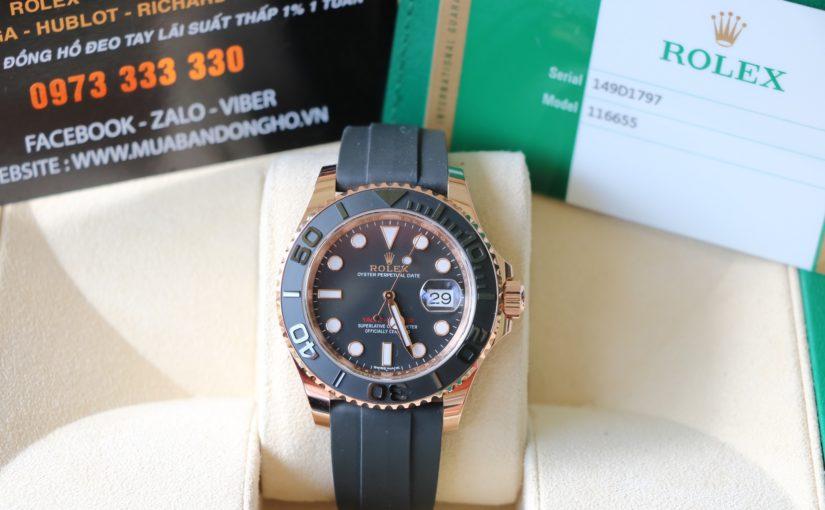 Đồng hồ rolex yatch master 116655 – vàng hồng 18k – dây cao su – size 40