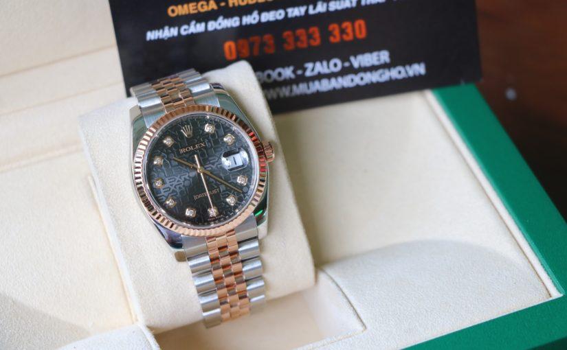 Đồng hồ rolex date just 6 số 116231 – Đè mi vàng hồng 18k – Mặt vi tính – size 36mm