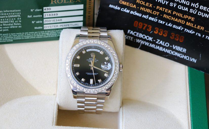 Đồng hồ rolex day date 6 số 218349 – Vàng trắng 18k – size 41mm – Vành zin