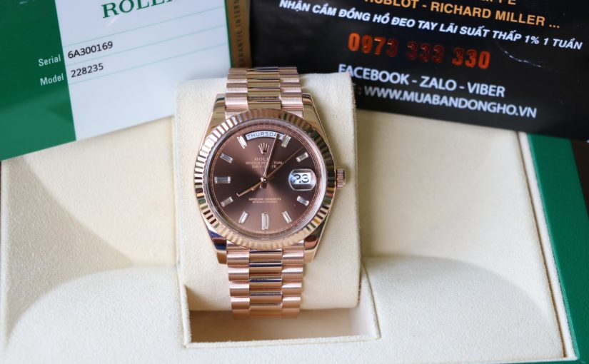 Đồng hồ rolex day date 6 số 228235 – Vàng hồng 18k rose gold – size 40mm – Chocolate