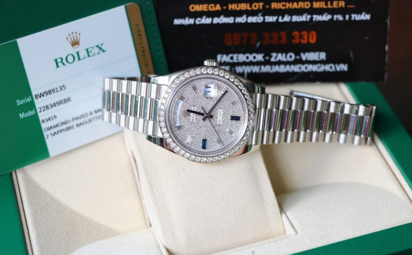 Đồng hồ rolex day date 6 số 228349 – vàng trắng 18k – size 40mm – hạt zin