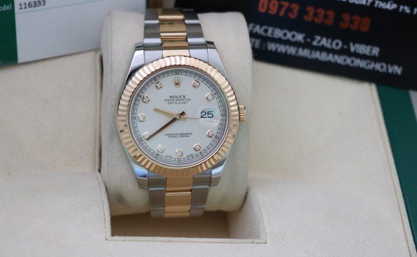 Đồng hồ rolex date just 6 số 116333 – Đè mi vàng 18k – size 41mm – Mặt hạt Xoàn