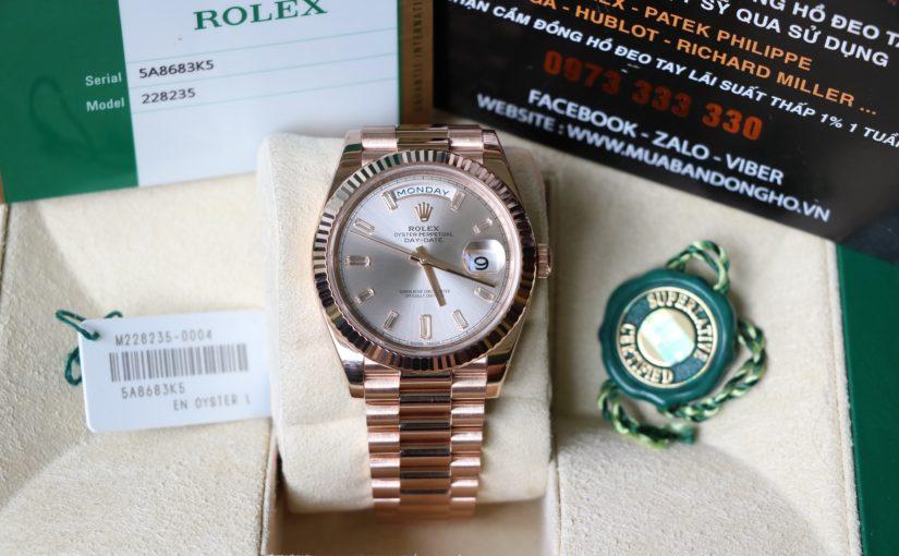 Đồng hồ Rolex day date 6 số 228235 – Mặt kim cương dài – size 40.mm Nam – Vàng hồng 18k