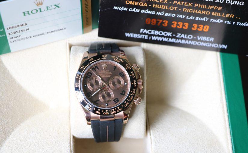 Đồng hồ rolex daytona 6 số 116515 – Vàng hồng 18k rose gold – Vành đá ceramic – size 40mm