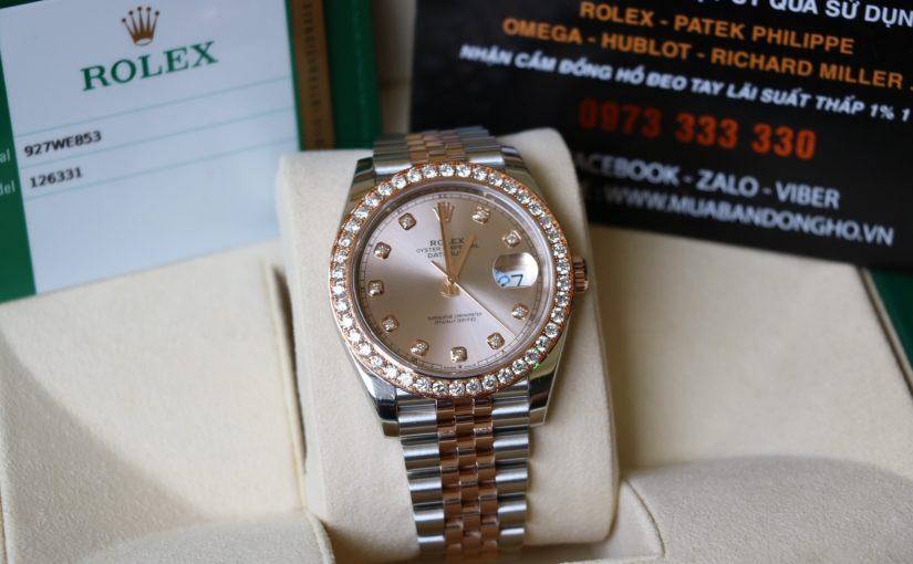 Đồng hồ rolex date just 6 số 126331 – Mặt xoàn – Đè mi vàng hồng – size 41mm