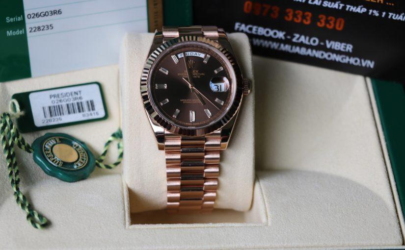 Đồng hồ rolex day date 6 số 228235 – vàng hồng 18k – mặt chocolate – size 40mm