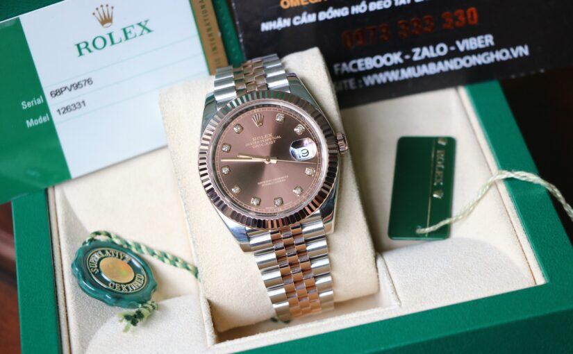 Đồng hồ rolex date just 6 số 126331 – Đè mi vàng hồng 18k – size 41mm – Socola