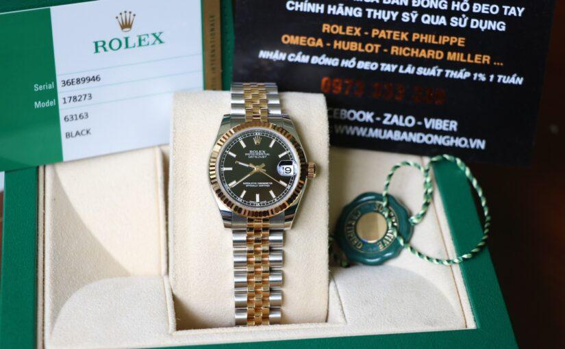 Đồng hồ rolex date just nữ 6 số 178273 – đè mi vàng 18k – size 31mm