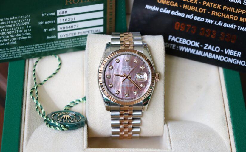 Đồng hồ Rolex date just 6 số 116231 – Đè mi vàng hồng 18k – mặt xà cừ – size 36mm