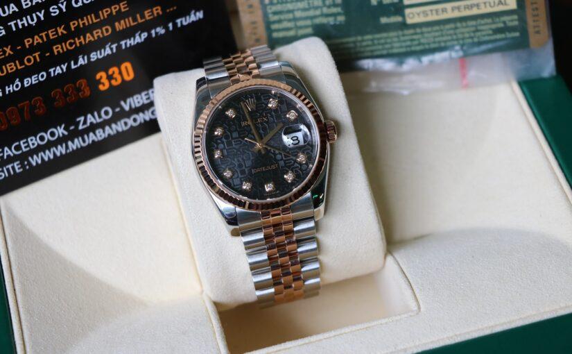 Đồng hồ rolex date just 6 số 116231 – đè mi vàng hồng 18k – size 36mm