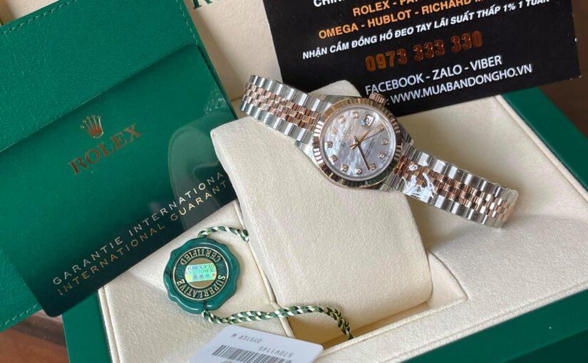 Đồng hồ rolex datejust 6 số nữ 279171 – đè mi vàng hồng 18k – mặt xà cừ