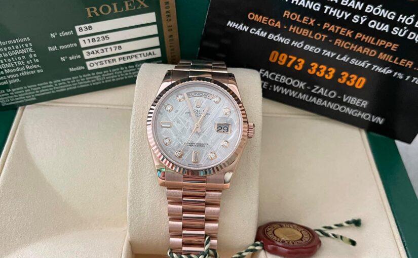 Đồng hồ rolex day date 6 số 118235 – mặt đá thiên thạch – size 36 – vàng hồng