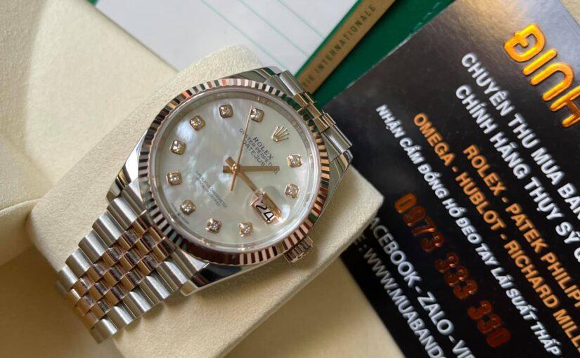 Đồng hồ rolex date just 6 số 126231 – Đè mi vàng hồng 18k – Mặt đá xà cừ