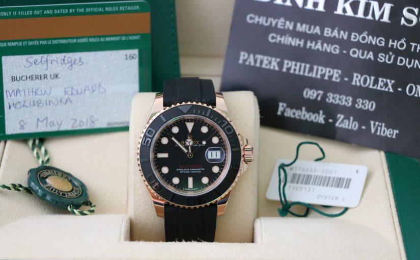Bán đồng hồ rolex yacth master 6 số 116655 – vàng hồng 18k – dây cao su – size 40mm