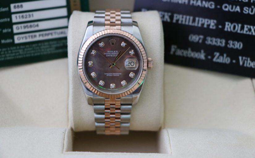 Bán đồng hồ rolex datejust 116231 – Đè mi vàng hồng 18k – Mặt đá xà cừ – size 36mm