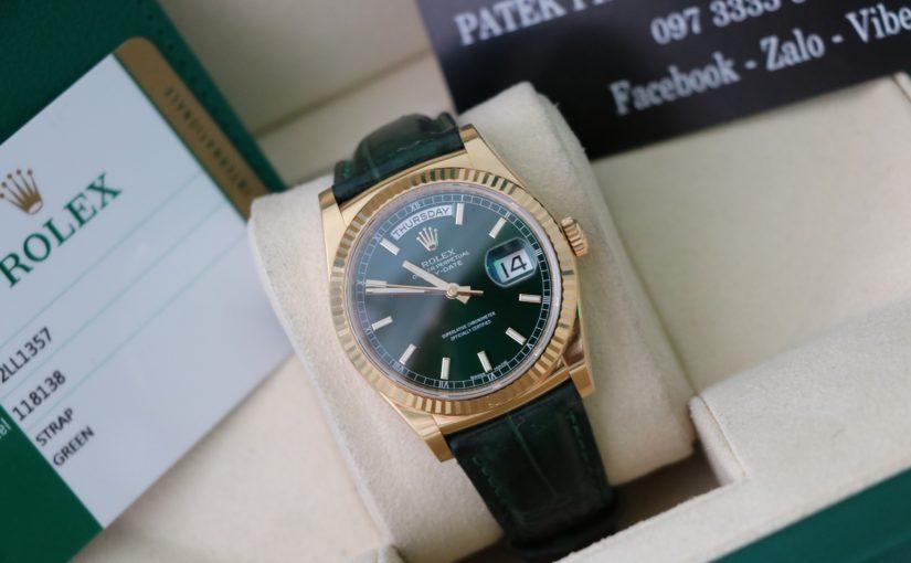 Đồng hồ rolex day date 6 số 118138 – Vàng 18k yellow – mặt Xanh đặt biệt – size 36