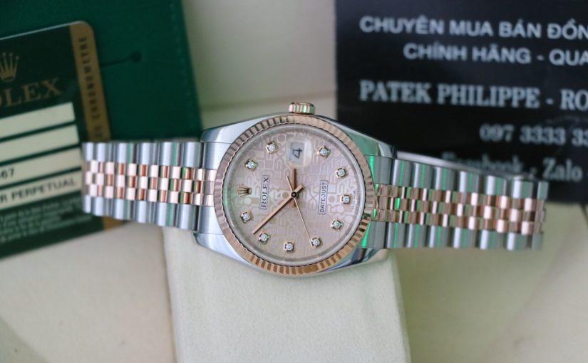 Đồng hồ rolex datejust 6 số 116231 – Đè mi vàng hồng 18k – mặt vi tính – size 36