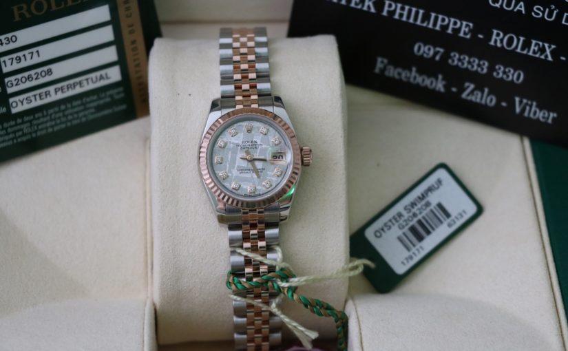 Đồng hồ rolex date just Nữ 6 số 179171 – Đè mi vàng hồng 18k – mặt đá thiên thạch – size 26mm
