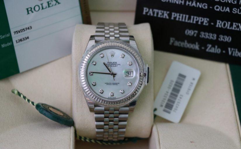 Đồng hồ rolex date just 6 số 126334 – Inox – Mặt đá xà cừ – size 41mm