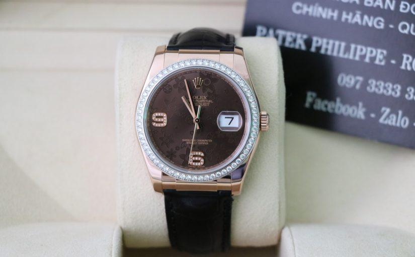 Đồng hồ rolex day date 6 số 116135 – Vàng hồng 18k – dây da – size 36mm