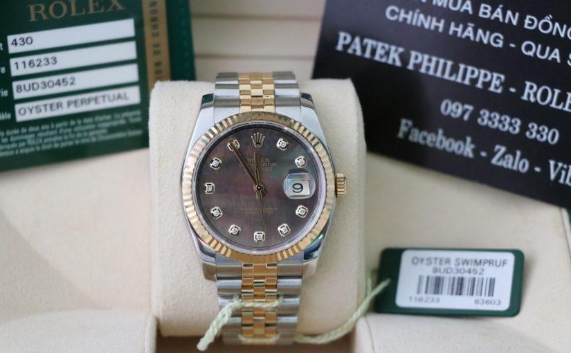 Đồng hồ rolex date just 6 số 116233 – Đè mi vàng 18k yellow – Mặt xà cừ – size 36mm