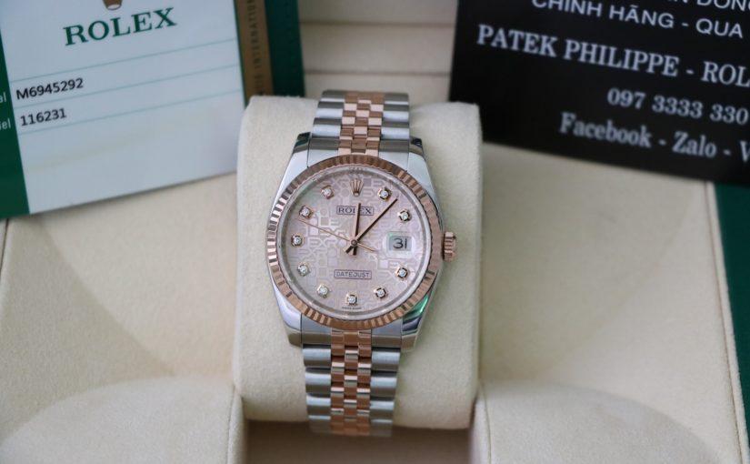 Đồng hồ rolex datejust 6 số 116231 – Đè mi vàng hồng 18k – mặt vi tính xoàn – size 36mm