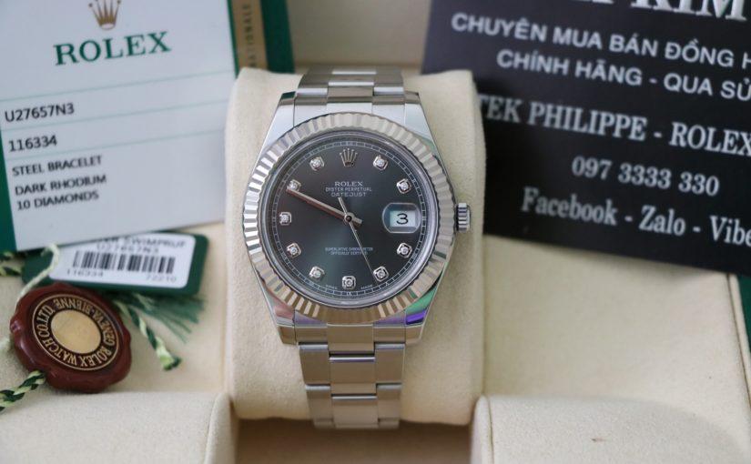 Đồng hồ rolex date just 6 số 116334 – Inox – Mặt Hạt Xoàn – Size 41mm