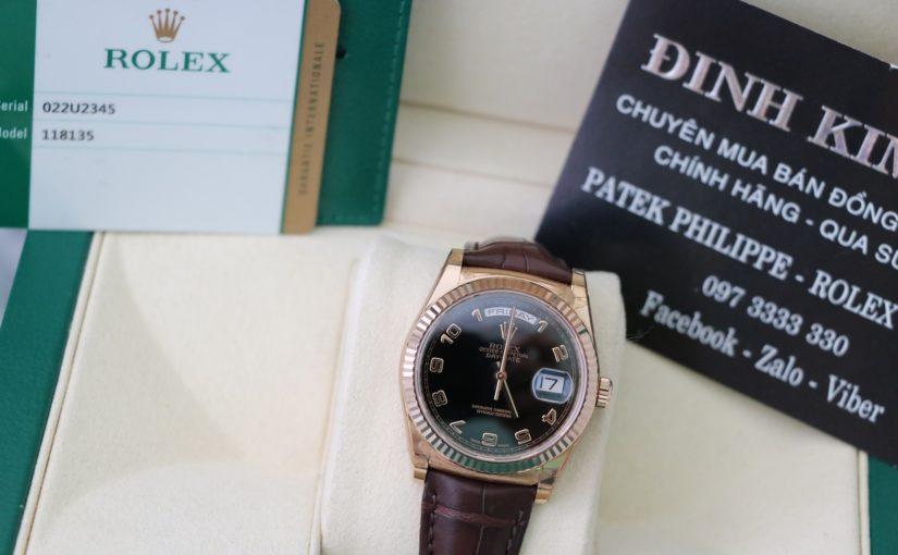 Thu mua Đồng hồ rolex day date 6 số 118135 – Vàng hồng 18k – dây da – size 36mm
