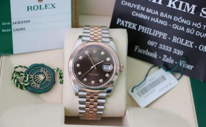 Đồng hồ rolex date just 6 số 126301 – Đè mi vàng hồng 18k – size 41mm