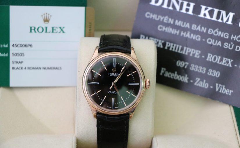 Đồng hồ rolex cellini 50505 – vàng hồng 18k – size 39mm – dây da